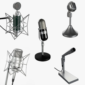 5 microphones set 3d obj