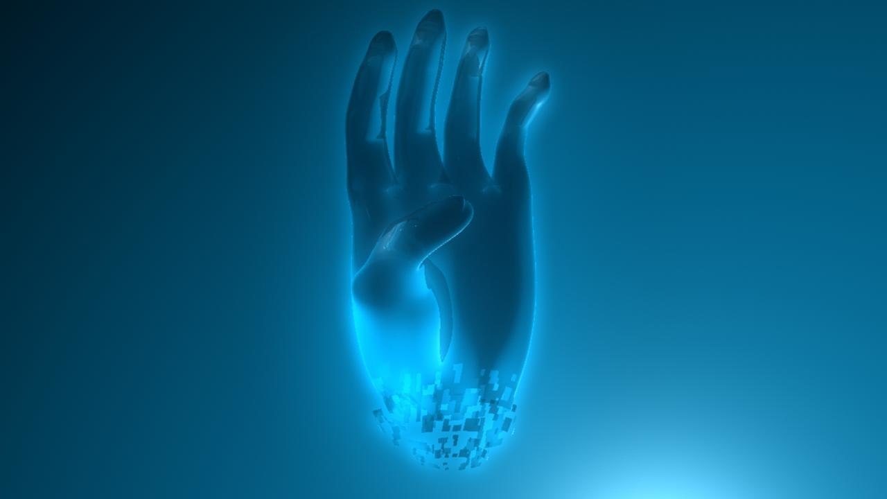 3d holographic human hand