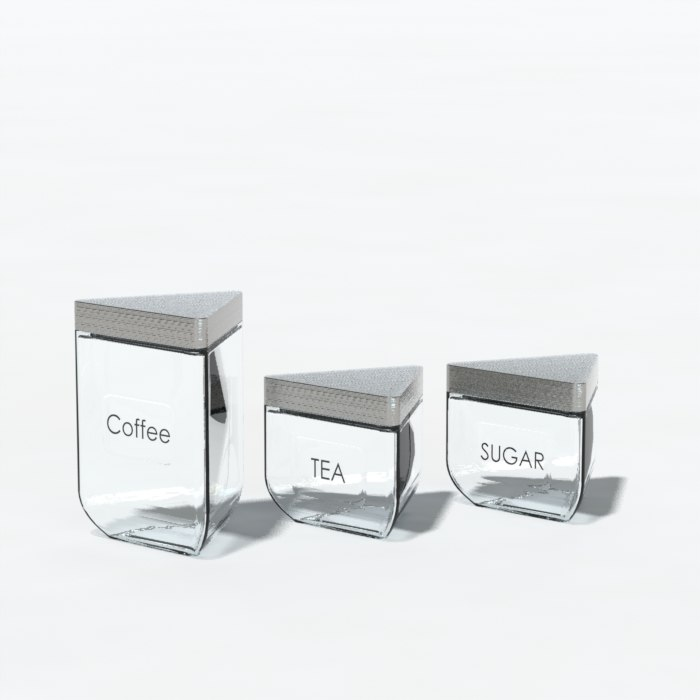 3d glass containers tea model