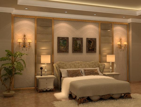 neo classic bedroom design 3d model