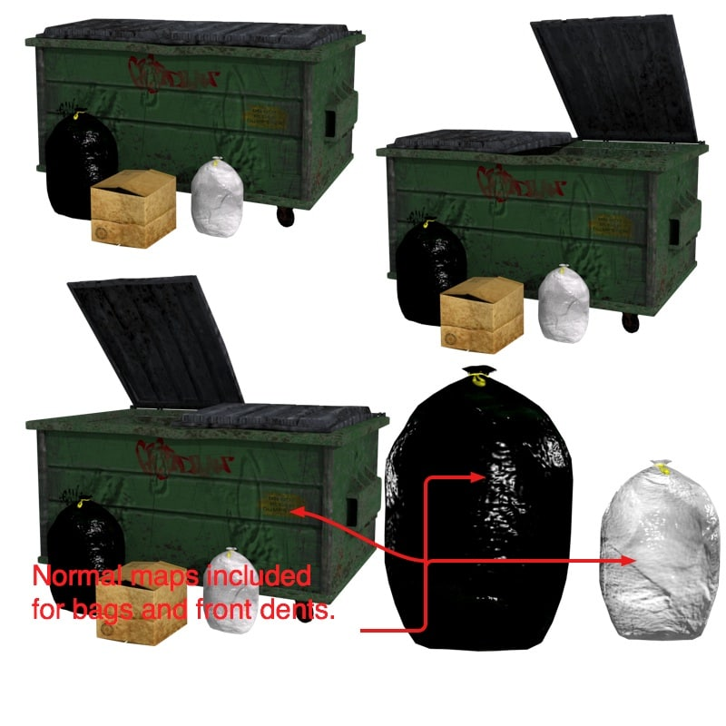 3d dumpster garbage model