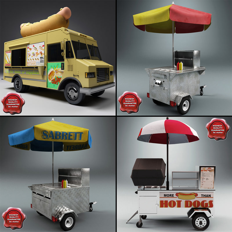 3d model hot dog carts