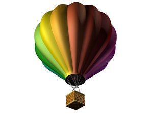 colorful hot air balloon 3d obj