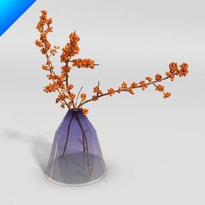 3ds max glass vase flower