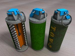 3d open hand grenade cross section