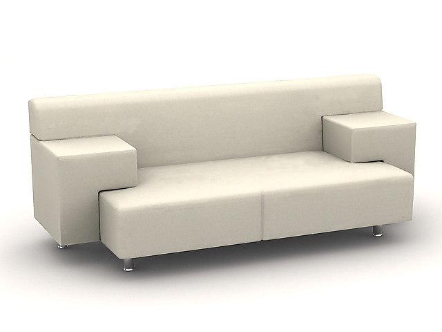 3d model of white sofaa