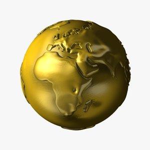 3d model of golden earth continents