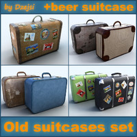 Old big suitcases collection