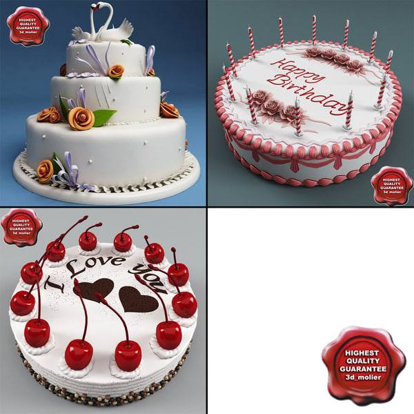 3dsmax cakes set birthday