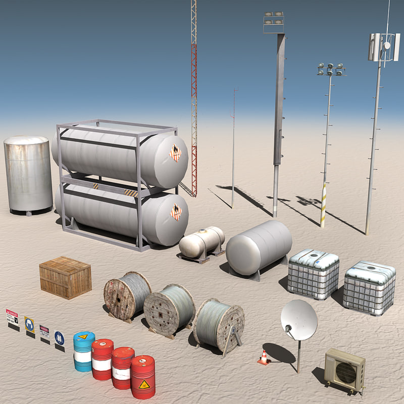 3d model land rig construction components