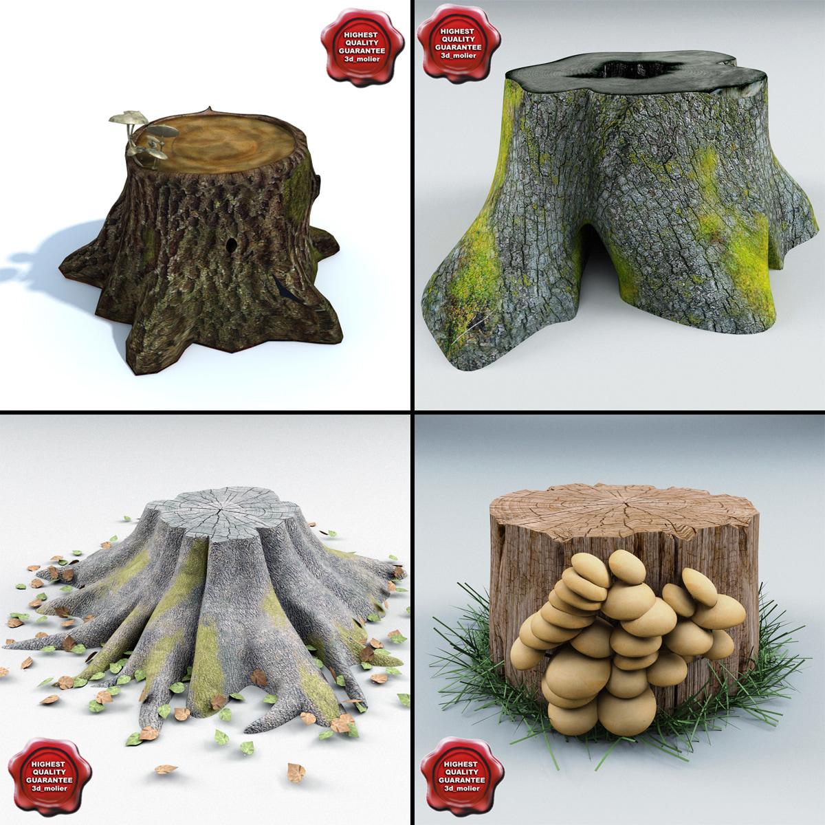 3d model old stumps
