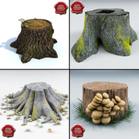 3d model old stumps