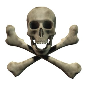 3d pirate skull crossbones model