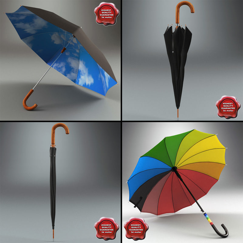 maya umbrellas set modelled