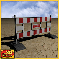 3d red-white construction barrier
