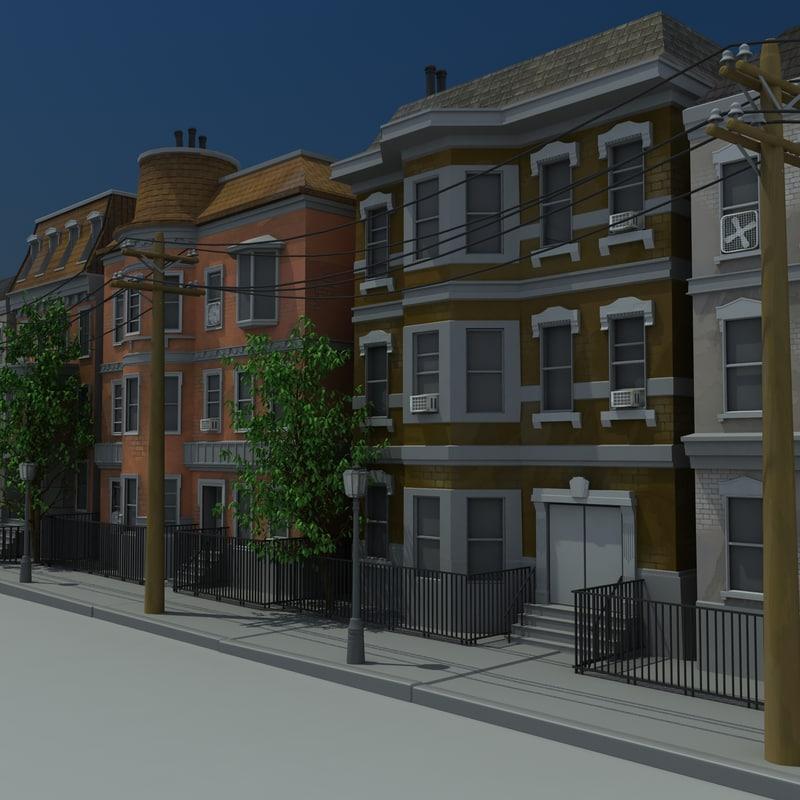 3ds max brownstone apartments scene