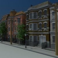 3ds max brownstone apartments scene