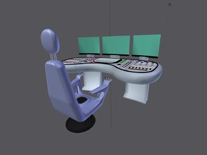 3d model workstation console chair