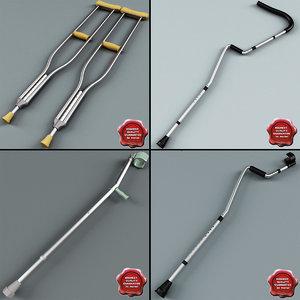 3d model of crutches set modelled