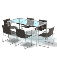 Dining table set chair glass modern contemporary