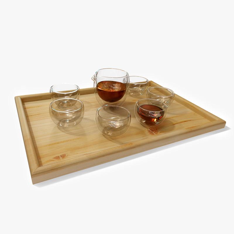 c4d contemporary glass tea set