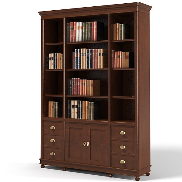 library traditional cabinet 3d model