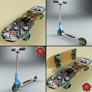 3d model micro scooter skateboard skate board