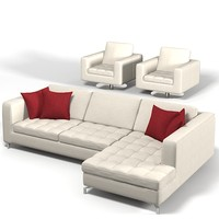 Natuzzi Savoy sectional corner tufted sofa and armchair