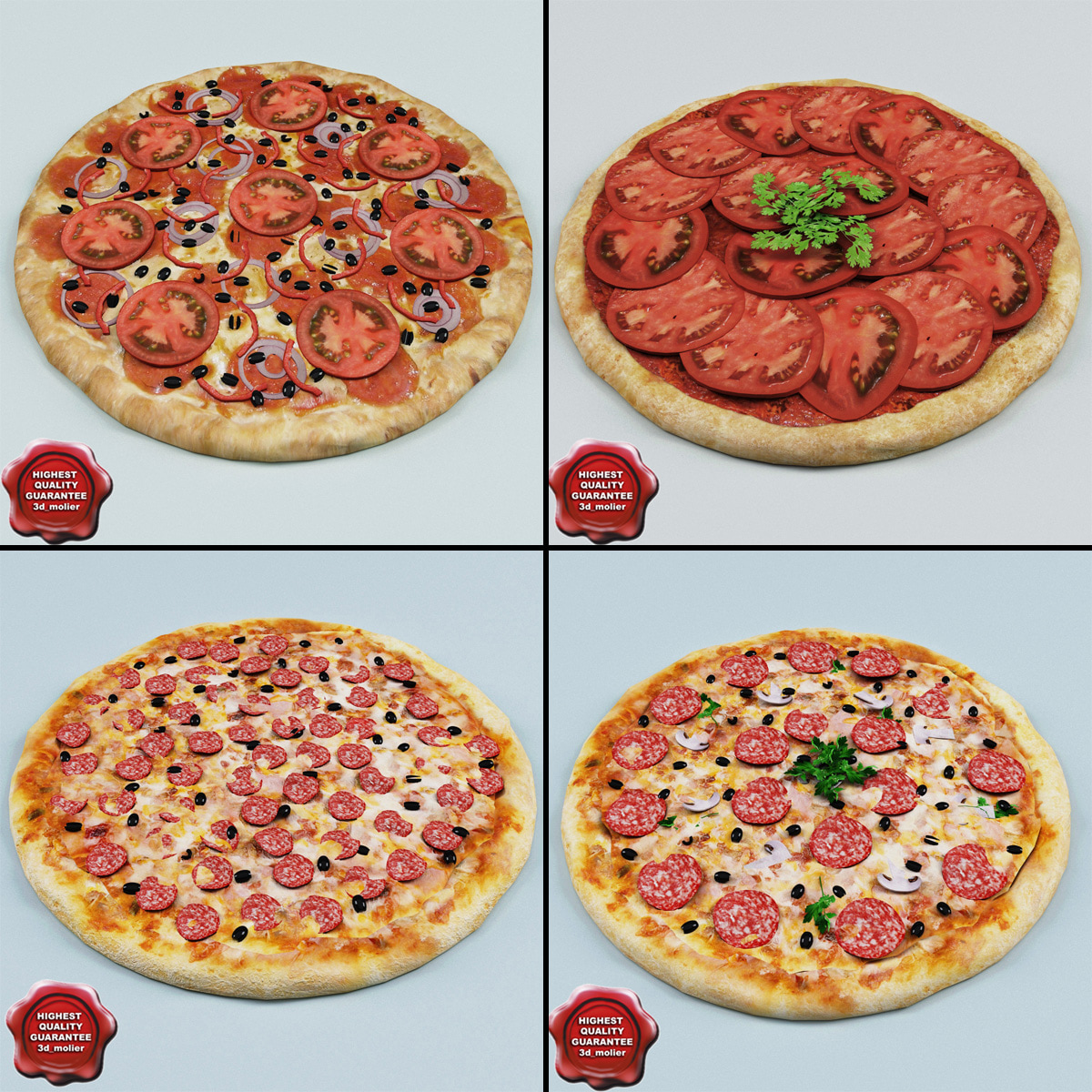 3d model pizzas modelled
