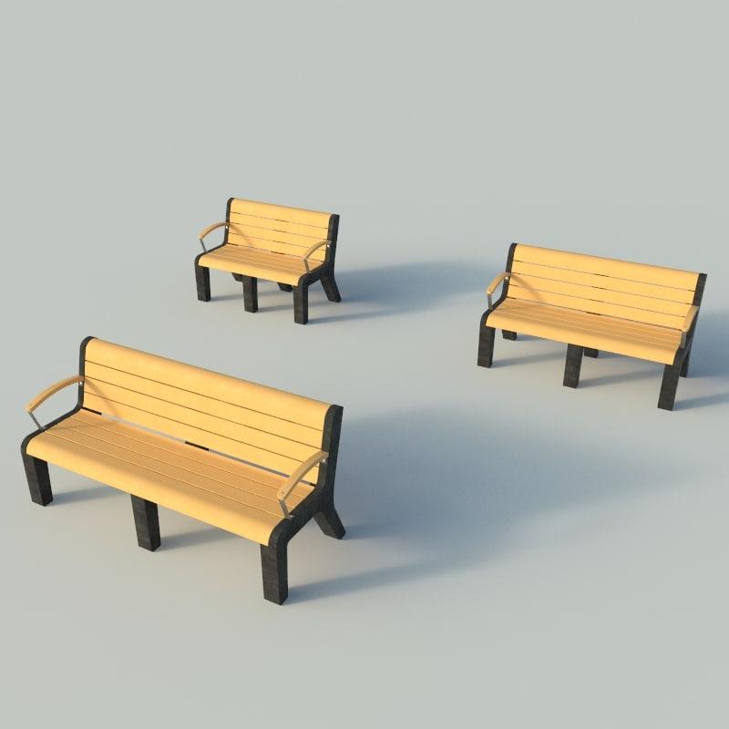 3d plastic park bench