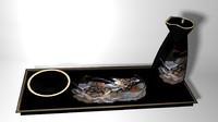 Oriental Sake Set Lo Poly