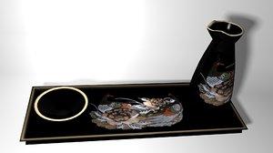 3d model oriental sake set lo