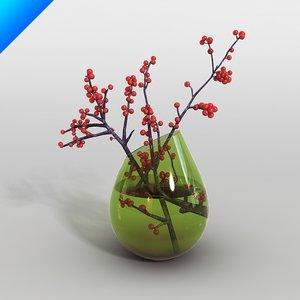 3d glass vase flower