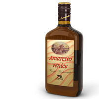 3d amaretto liqueur bottle model