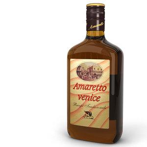 3d amaretto liqueur bottle model