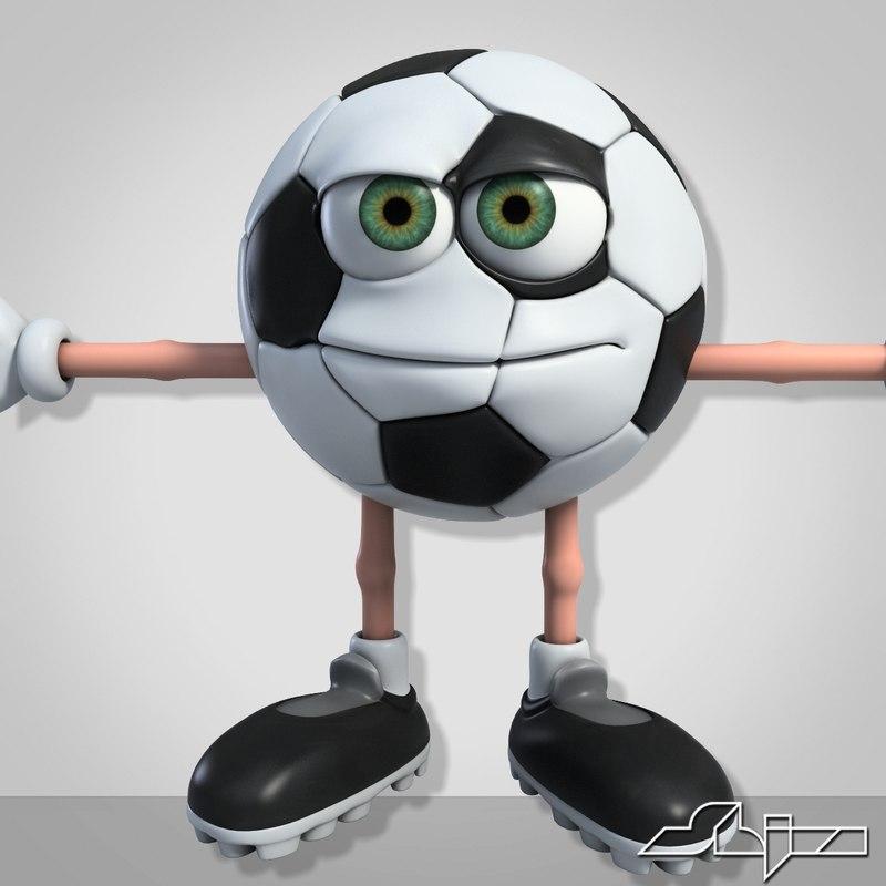 character cartoon football 3d 3ds