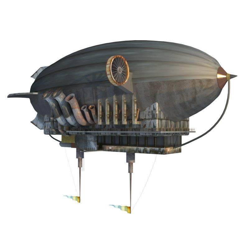 3d model steampunk zeppelin