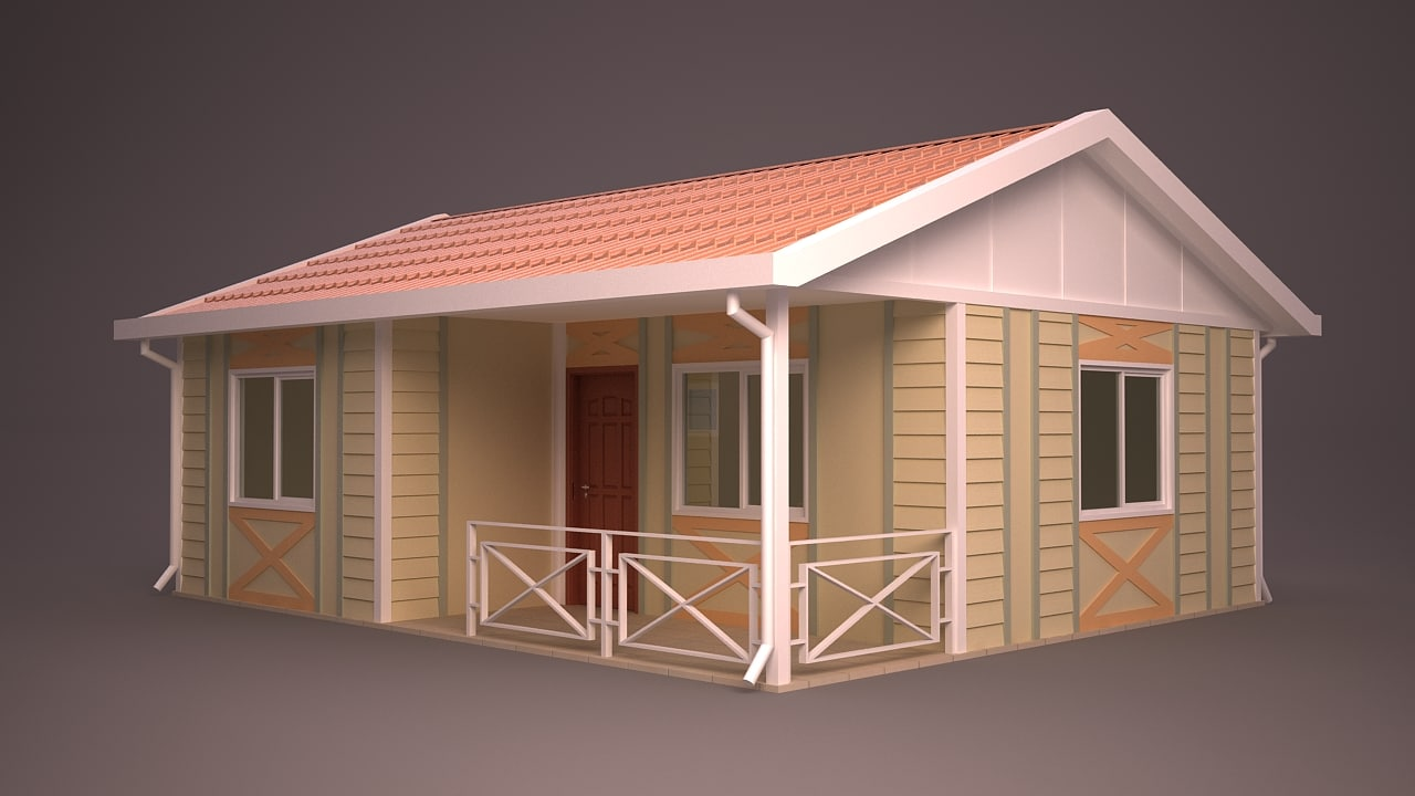 homes different facade 3d model