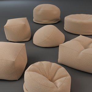 3d model bean bag chairs