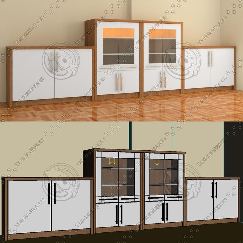 dining living cabinet 3d model