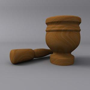 3d model wooden mortar pestle