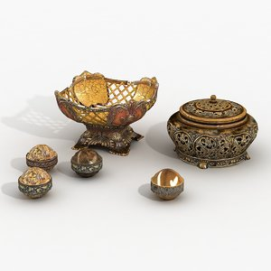 decoration vases boxes containers 3d model