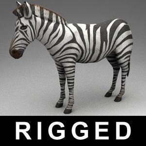 3d model rigged zebra