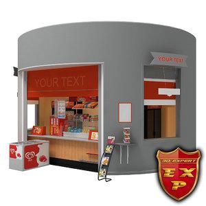 3d kiosk furniture building model