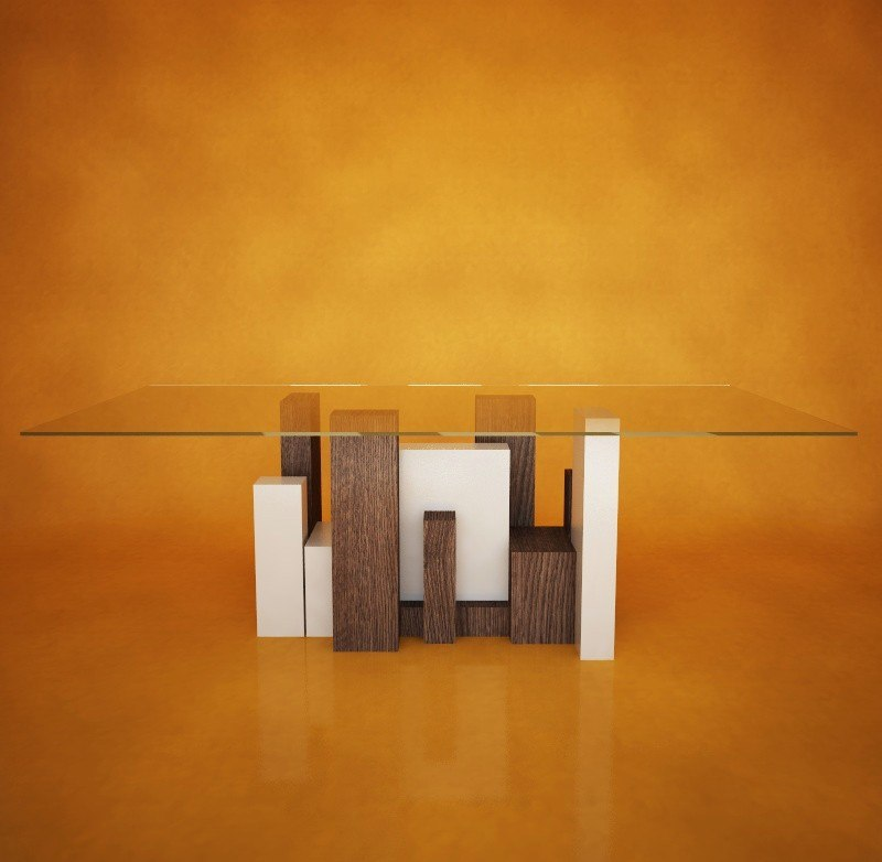 city glass table italian design obj