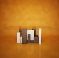 City table, Glass surface Italian design
