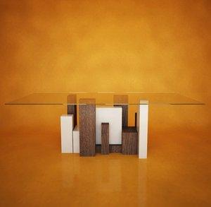 city glass table italian design obj