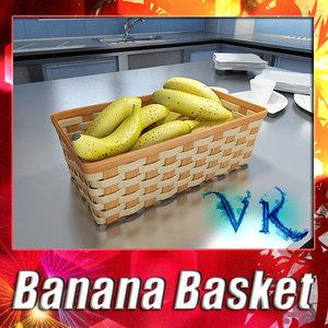 fruit basket 09 bananas 3d 3ds
