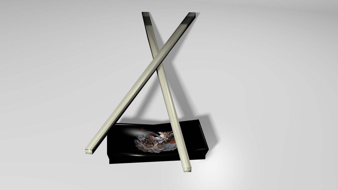 3d oriental chopstick lo rest