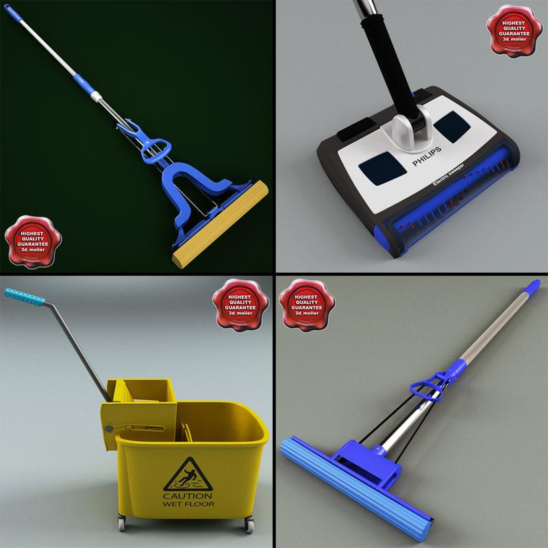 3d model of mops set sponge